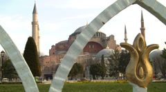 Hagia Sofia from external gate ISTANBUL, TURKEY Stock Footage