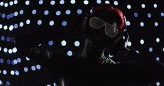 Red Head Turning Nerd Glasses Headphones Lights 1 - stock footage
