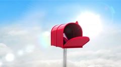Information symbol in the mailbox on cloudy background Stock Footage
