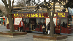 Big BUS tourist bus in the city of, ISTANBUL, TURKEY Stock Footage