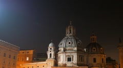 Santa Maria di Loreto. Night, Rome, Italy Stock Footage