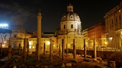 Basilica Ulpia, Trajan Forum, Night, Roma, Italy. 1280x720 Stock Footage