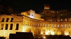 Trajan's market, Night. Roma, Italy. 1280x720 Stock Footage