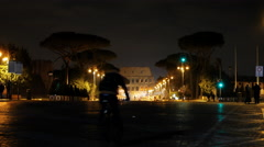 Via dei Fori Imperiale view of the Coliseum. Night  Rome, Italy. 4K - stock footage