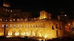 The ruins of Trajan's Market, Night. Rome, Italy. 1280x720 Stock Footage