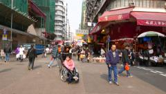 Typical busy street in distant district of HongKong city Stock Footage