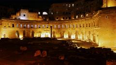 Ruins of Trajan's Market, Night. Rome, Italy. 4K Stock Footage