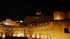 Market Trojan at night, Rome, Italy. 4K Stock Footage