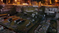 Trajan Forum, Night. Roma, Italy. 4K Stock Footage