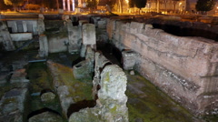 Trajan Forum at night. Roma, Italy. 4K Stock Footage
