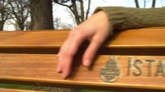 Hand Resting on Bench ISTANBUL, TURKEY Stock Footage