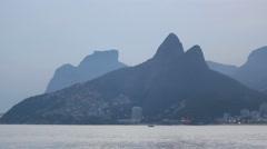 Dois Irmaos Two Brothers Mountain, sunset, Ipanema Beach Rio de Janeiro, Brazil Stock Footage
