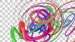 Colourful splines spiral rotating - stock footage