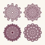 Set of 4 vector lace round decors - mandalas, decorative elements. - stock illustration