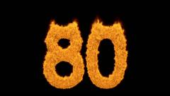 Flaming orange fiery number 80 Stock Footage