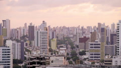 Evening shot of downtown Natal apartment buildings - stock footage