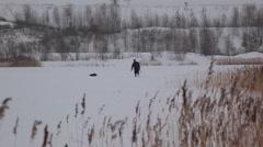 Fishing on ice Stock Footage