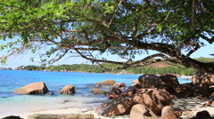 Beautiful Indian Ocean on the beach of Anse Lazio Stock Footage