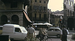 Verona 1974: people walking in Piazza Bra Stock Footage
