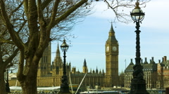 Stunning view of Big Ben and Parliament with a blue sky - stock footage