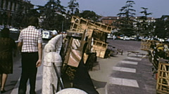 Verona 1974: people walking under the arena Stock Footage