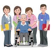 Smiling Senior man in wheelchair and nursing carers Stock Illustration