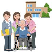 Smiling senior man with caregivers Stock Illustration