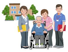 Cheerful elderly person in wheelchair with his nursing caregivers - stock illustration