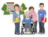 Stock Illustration of Cheerful elderly person in wheelchair with his nursing caregivers