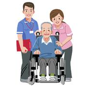 Portraits of happy elderly man in wheelchair and his nurses Stock Illustration