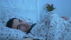 4K Man Can't Fall Asleep Eyes Wide Open - stock footage