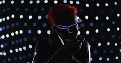 Red Head Turning LED Glasses  Lights 1 Remix Stock Footage