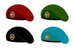 military berets - stock illustration