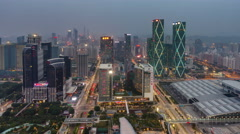 Day till night sunset shenzhen city roof top panorama 4k time lapse china Stock Footage