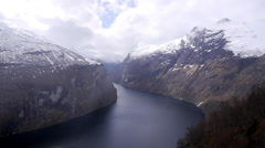 A view along the Geiranger Fjord, Norway Stock Footage