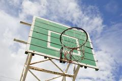 Stock Photo of A basketball basket on weathered green wooden facade. Basketball hoop.