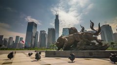 day light shenzhen famous bull monument city panorama 4k time lapse china - stock footage