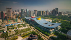 Shenzhen day roof top civic center construction area 4k time lapse china Stock Footage