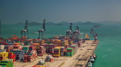 Day light shenzhen city famous port working hard 4k time lapse china Stock Footage
