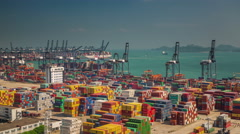 Sun light day working port bay 4k time lapse shenzhen china Stock Footage