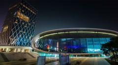 night light shenzhen city arena square 4k time lapse china - stock footage