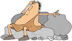 Tired caveman Stock Illustration