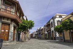 Typical street of Teror in Gran Canaria Stock Photos