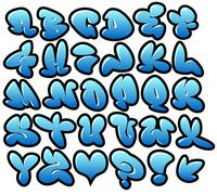 graffiti bubble blue vector fonts with gloss and outline - stock illustration