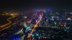 Stock Video Footage of high traffic city streets night light shenzhen 4k time lapse china