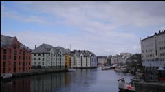 Boats moored in Ålesund, Norway Stock Footage