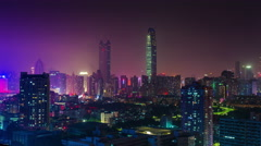 Night light shenzhen roof top cityscape panorama 4k time lapse china Stock Footage