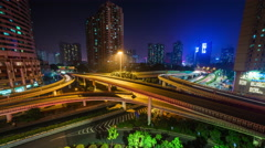 shenzhen city night light traffic junction 4k time lapse china - stock footage