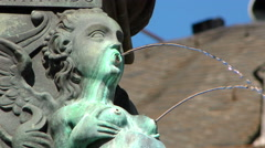 Fountain and Ancient Statue in Frankfurt Stock Footage
