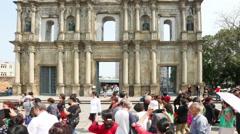 Ruins of St Paul's church in Macau - Timelapse Stock Footage